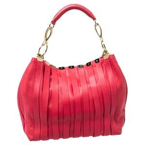 Versace Fuchsia Leather Hobo