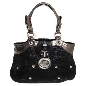 Versace Black/Metallic Leather Medusa Plaque Flap Satchel