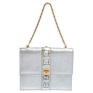 Versace Silver Leather Studded Flap Clutch