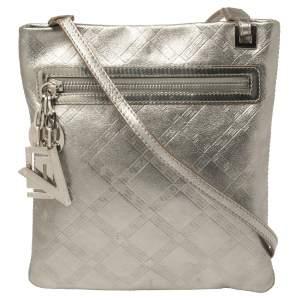 Versace Metallic Silver Leather Slim Crossbody Bag