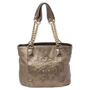 Versace Metallic Perforated Logo Leather Chain Hobo