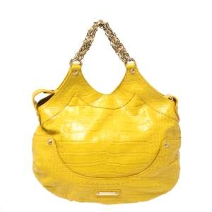 Versace Yellow Croc Embossed Leather Kiss Shoulder Bag