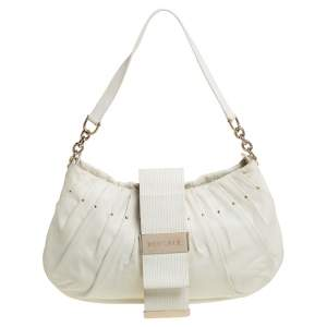 Versace White Pleated Leather Studded Hobo