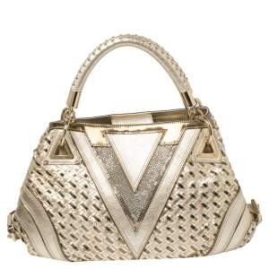 Versace Metallic Gold Woven Leather Crystal Embellished V Satchel