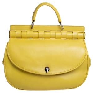 Versace Yellow Leather Top Handle Bag
