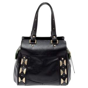 Versace Black Leather Studded Satchel