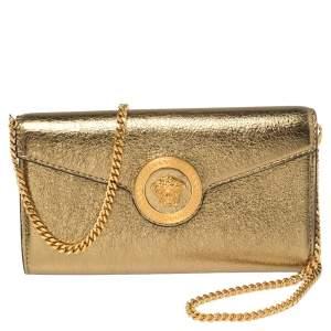 Versace Metallic Gold Leather Medusa Wallet on Chain