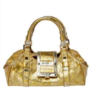 Versace Metallic Gold Crinkled Leather Satchel