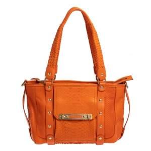 Versace Orange Python Front Pocket Shoulder Bag