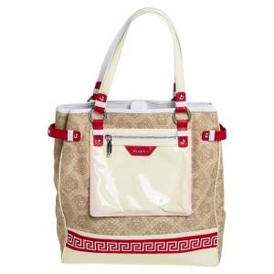Versace Multicolor Medusa Print Fabric and Patent Leather Front Pocket Tote