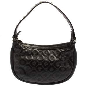 Versace Black Logo Embossed Leather Small Studded Baguette Bag