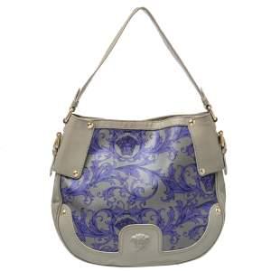 Versace Grey/Blue Majolica Print Leather Hobo