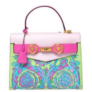 Versace Multicolor Printed Leather Diana Icon Top Handle Bag