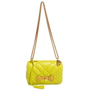 Versace Lime Green Quilted Leather Medusa Padlock Flap Chain Bag