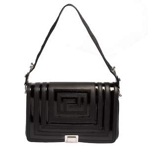 Versace Black Quilted Patent and Leather Flap Shoulder Bag