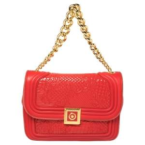 Versace Red Patent Leather and Suede Medusa Chain Flap Shoulder Bag