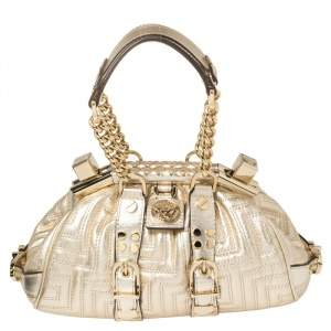 Versace Gold Quilted Leather Mini Madonna Frame Bag
