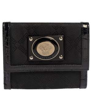 Versace Black Signature Nylon and Croc Embossed Patent Leather Flap Compact Wallet