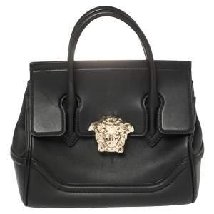 Versace Black Leather Palazzo Empire Tote