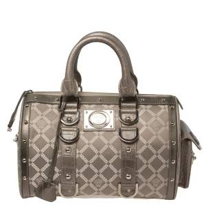 Versace Metallic Grey Signature Canvas and Croc Embossed Leather Snap Out Of It Satchel
