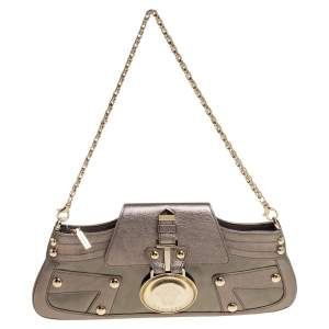 Versace Metallic Embossed Leather Icon Flap Chain Clutch