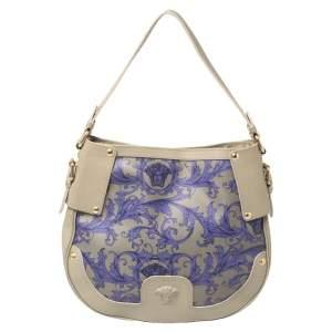 Versace Grey/Purple Majolica Print Leather Hobo