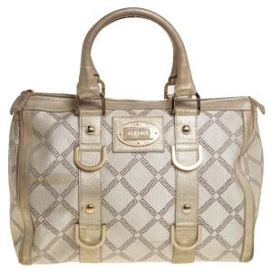 Versace Metallic Gold/Cream Signature Canvas and Leather Snap Out Of It Satchel