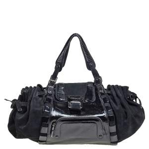 Versace Black Suede and Patent Leather Drawsting Satchel