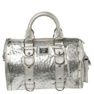 Versace Silver Ostrich Embossed Leather Snap Out Of It Satchel