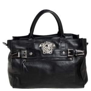 Versace Black Leather Donna Palazzo Top Handle Bag