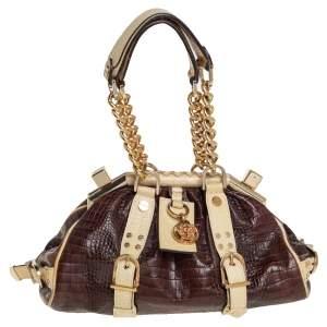 Versace Brown/Cream Croc Embossed Leather Madonna Satchel