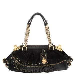 Versace Black Suede/Calfhair and Lizard Embossed Corset Frame Shoulder Bag