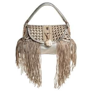 Versace Gold/Black Woven Leather Medusa Fringe Shoulder Bag