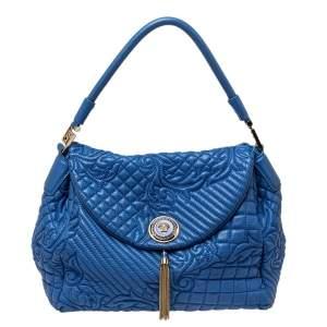 Versace Blue Embossed Leather Talia Vanitas Shoulder Bag
