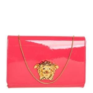 Versace Peach Patent Leather Medusa Chain Clutch