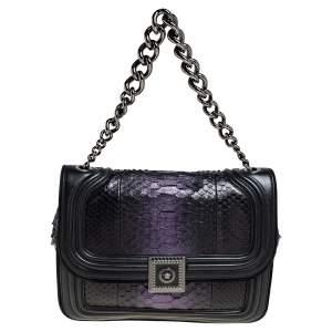 Versace Black/Metallic Purple Python, Leather and Suede Trim Medusa Chain Flap Shoulder Bag