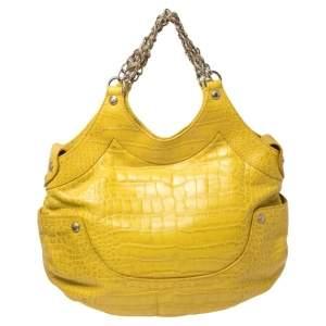 حقيبة فيرساتشي كيس جلد نقشة التمساح أصفر