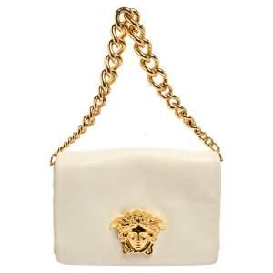 Versace White Leather Medusa Flap Shoulder Bag