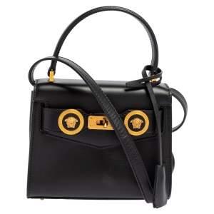 حقيبة فيرساتشي أيقونة جلد أسود صغيرة بيد علوية