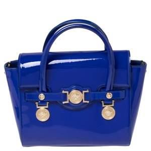 حقيبة يد توتس فيرساتشي ميدالية ميدوسا جلد لامع أزرق متوسطة