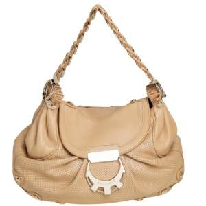 Versace Beige Perforated Leather Logo Buckle Flap Chain Hobo