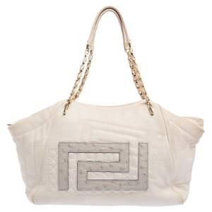 Versace White Leather Ostrich Logo Trim Chain Tote