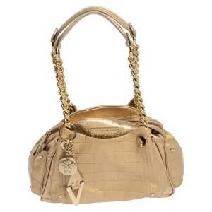 حقيبة ساتشل فرساتشي جلد بنقشة التمساح ذهبي بسلسلة