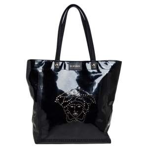 Versace Black Patent Leather Perforated Medusa Shopper Tote