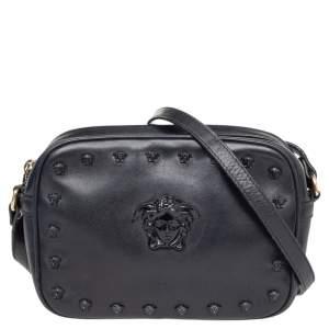 Versace Black Leather Medusa Crossbody Bag