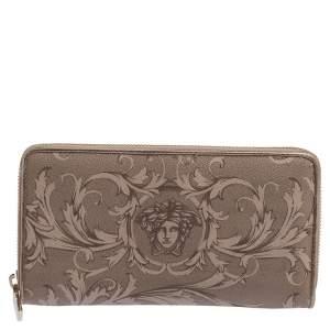 Versace Grey Barocco Print Coated Canvas Zip Around Wallet