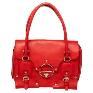 Versace Red Leather Studded Tote