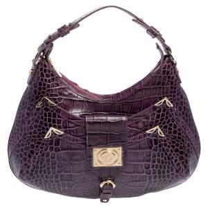 Versace Purple Croc Embossed Leather Hobo