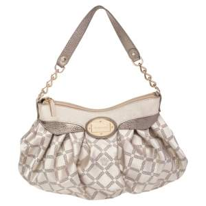 Versace Gold Monogram Fabric and Leather Logo Plate Hobo