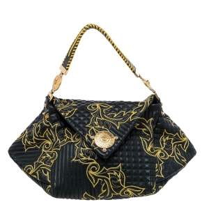 Versace Black/Yellow Barocco Leather Floral Stitch Top Handle Bag